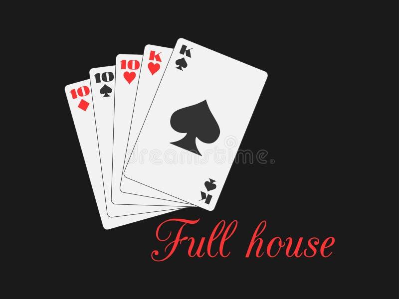 Pełnego domu karta do gry, serca i rydle, nadają się Grzebak ręka wektor royalty ilustracja
