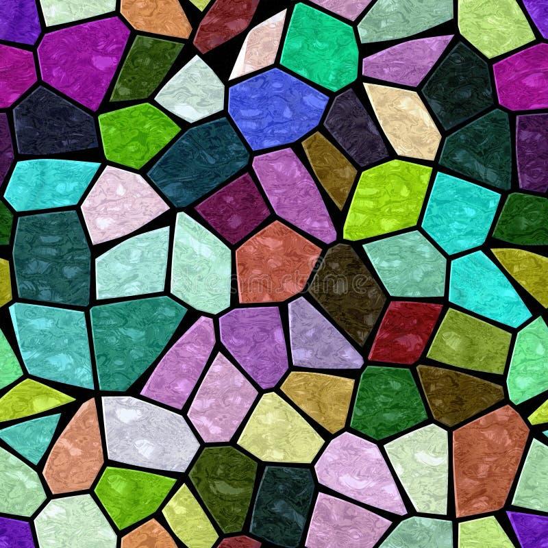 Pełnego koloru kamienia marmuru nieregularnej mozaiki bezszwowa deseniowa tekstura na czarnym grout ilustracja wektor