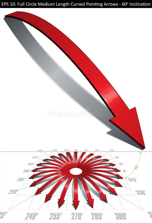 Pełnego okręgu Średnia długość Wyginająca się Wskazujący strzała Ustawiać - 60 stopni ilustracji