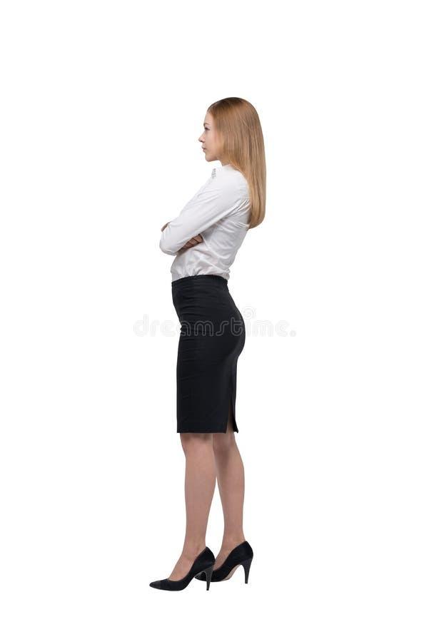 Pełnej długości boczny widok biznesowa dama w formalnym odziewa fotografia royalty free