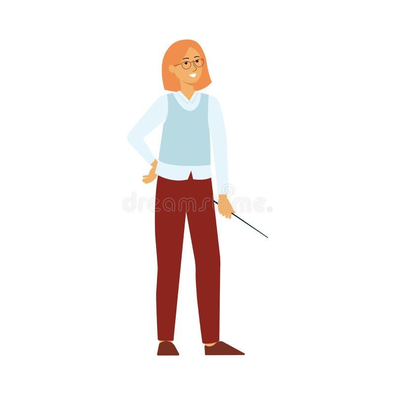 Pełnej długości nauczyciela fachowa kobieta z pointeru płaskim wektorowym tłem ilustracji