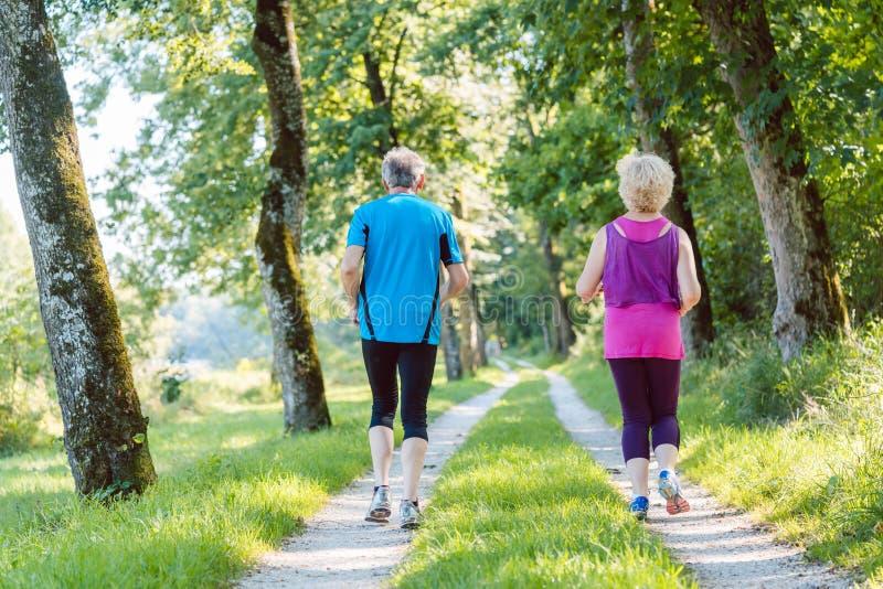Pełnej długości tylni widok starsza para jogging wpólnie outdoo zdjęcie royalty free