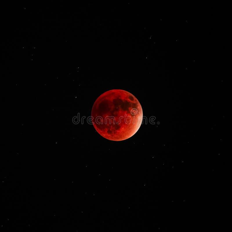 Pełnej Księżycowego zaćmienia super księżyc czerwony krwisty ciemny niebo zdjęcia stock