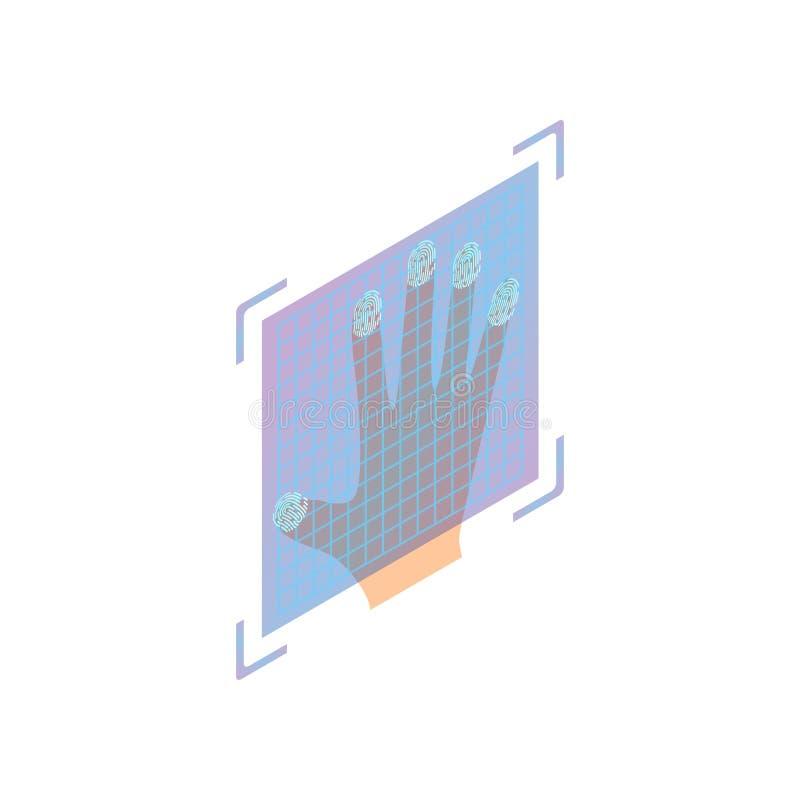 Pe?nej r?ki odcisk palca biometryczna ochrona na szklanym przeszukiwaczu ilustracji