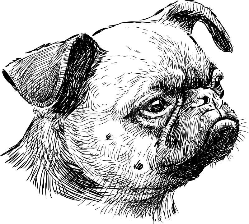 pełnoletni psi połówki głowy jeden mopsa potomstwa ilustracji