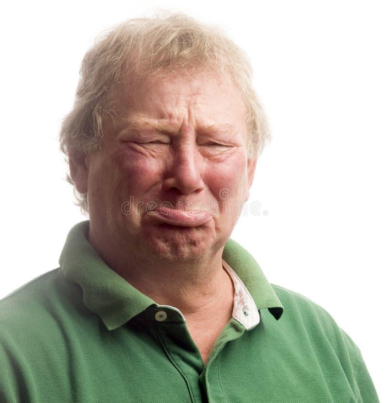 pełnoletniego płaczu emocjonalnego twarzy mężczyzna środkowy seniora spęczenie obraz stock