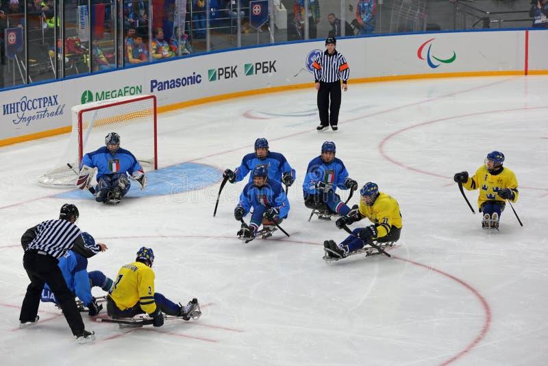 Pełnozamachowy hokej obraz stock