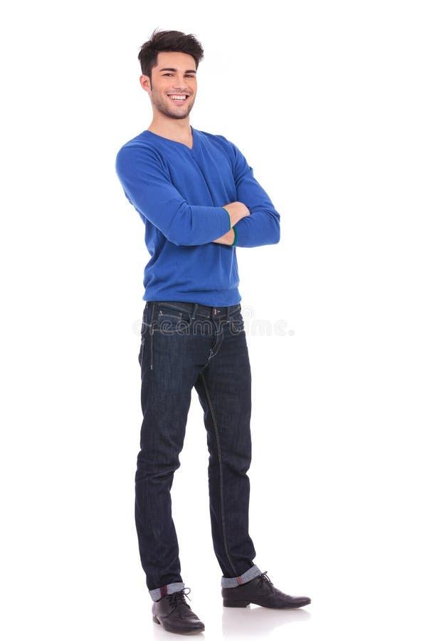 Pełny ciało obrazek młody ufny mężczyzna zdjęcie stock