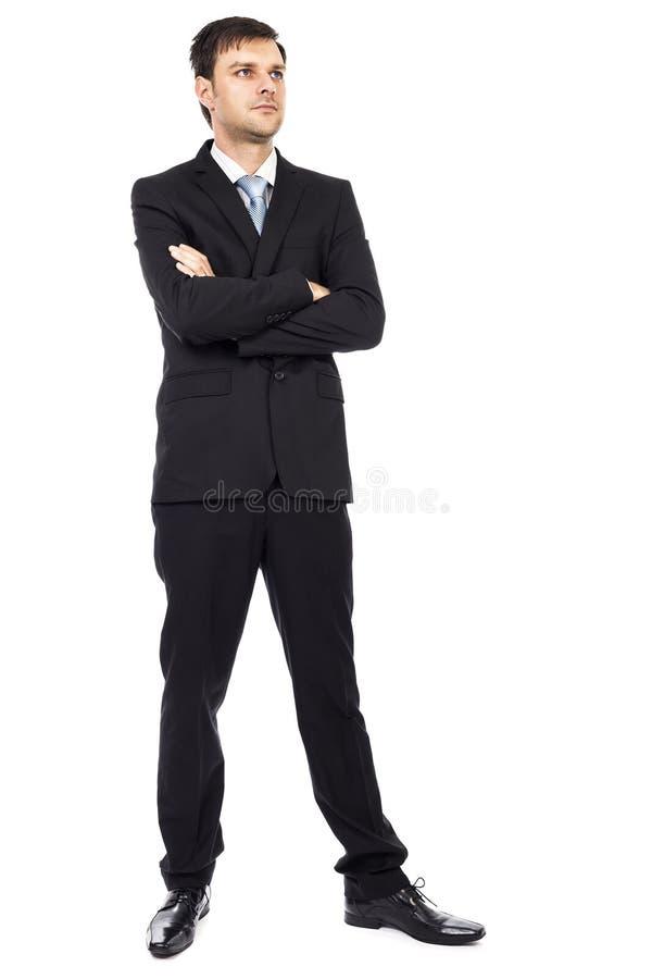 Pełny ciało portret młody biznesowy mężczyzna z rękami składać zdjęcie royalty free