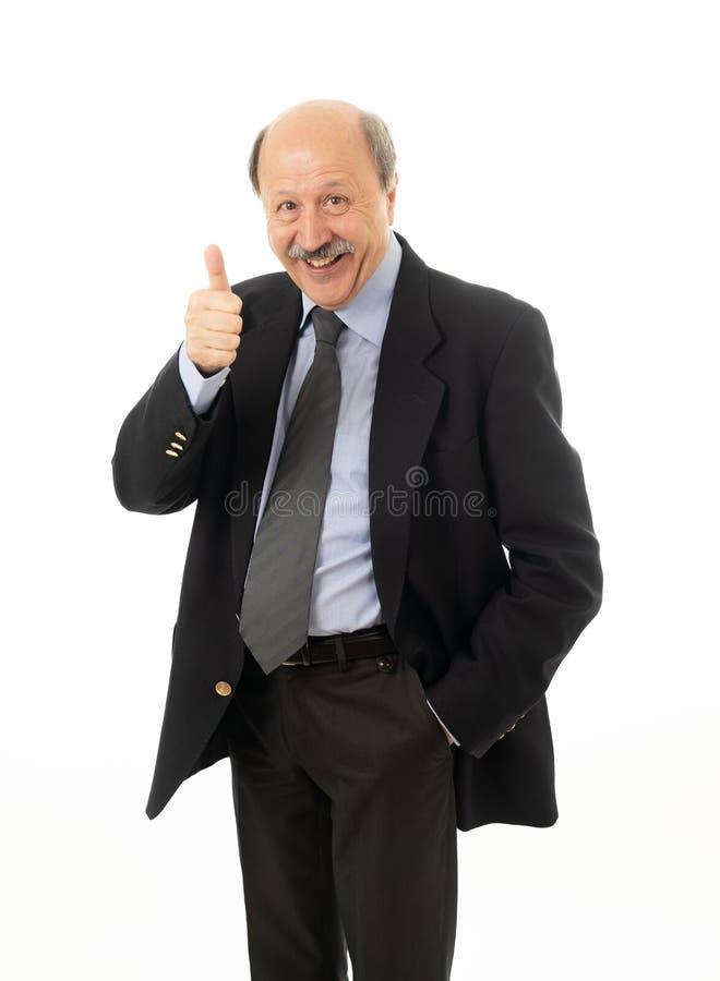 Pełny ciało portret szczęśliwy ufny starszy biznesmen zdjęcie royalty free