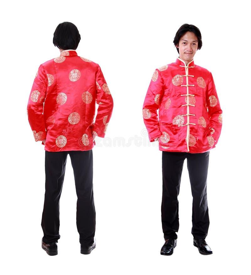 Pełny ciało przód i tylnego widoku Azjatycki mężczyzna z Chiński tradycyjnym obraz stock
