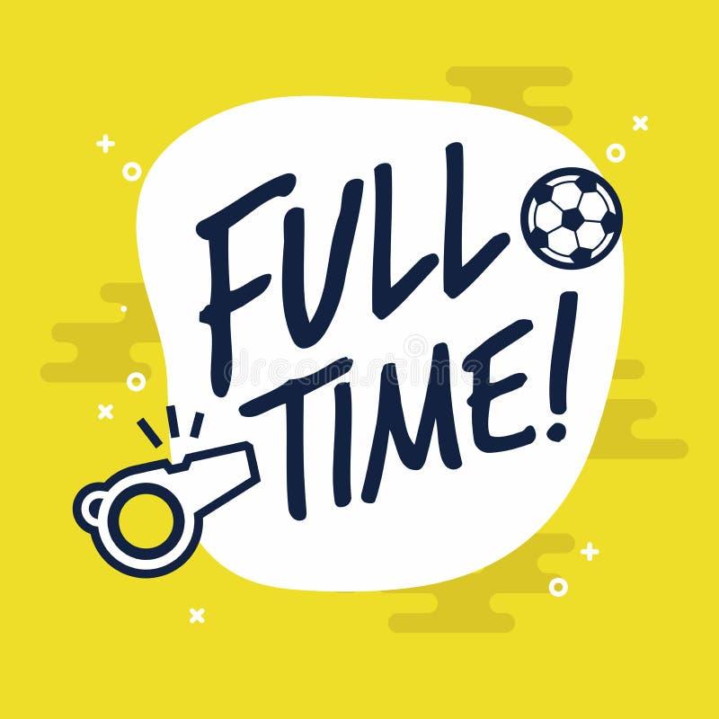Pełny czasu znak dla futbolu lub meczu piłkarskiego Płaski wektor na żółtym tle royalty ilustracja