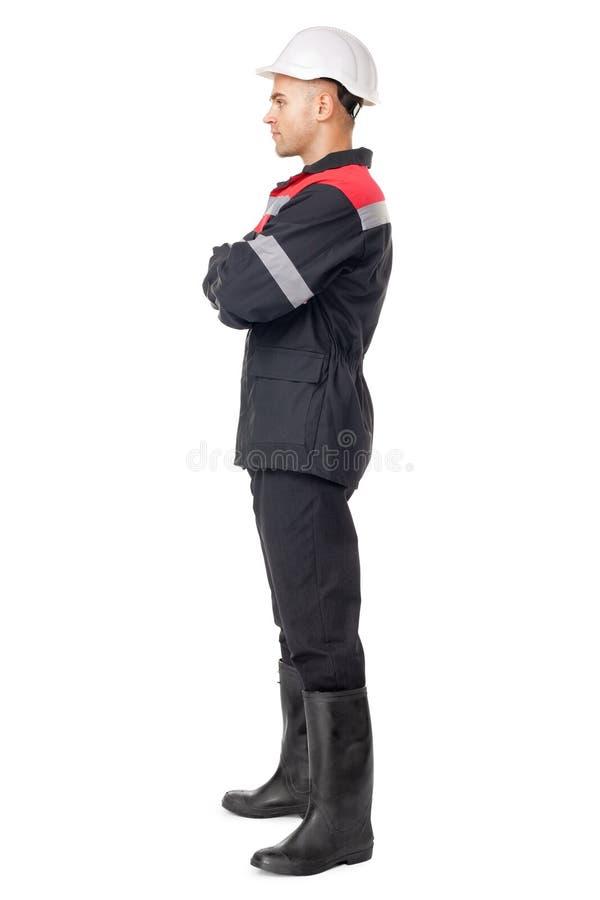 Pełny długość bocznego widoku portret młody pracownik zdjęcia royalty free