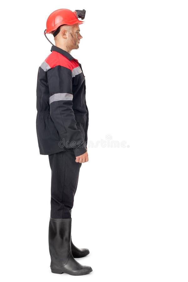 Pełny długość bocznego widoku portret węglowy górnik zdjęcia stock