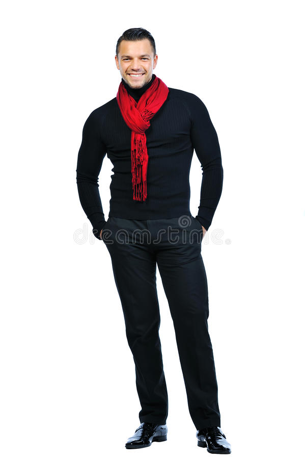 Pełny długość portret elegancka młody człowiek pozycja zdjęcie stock