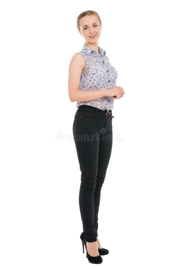Pełny długość portret młody bizneswomanu ono uśmiecha się odizolowywam obraz stock