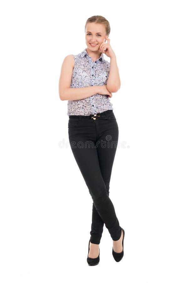 Pełny długość portret młody bizneswomanu ono uśmiecha się odizolowywam obrazy stock