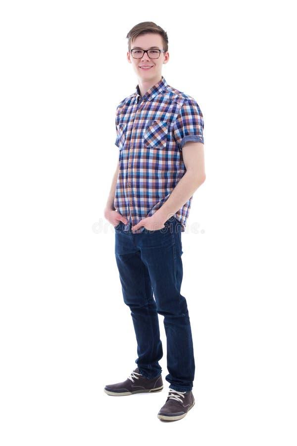 Pełny długość portret odizolowywający na bielu przystojny nastoletni chłopak fotografia royalty free