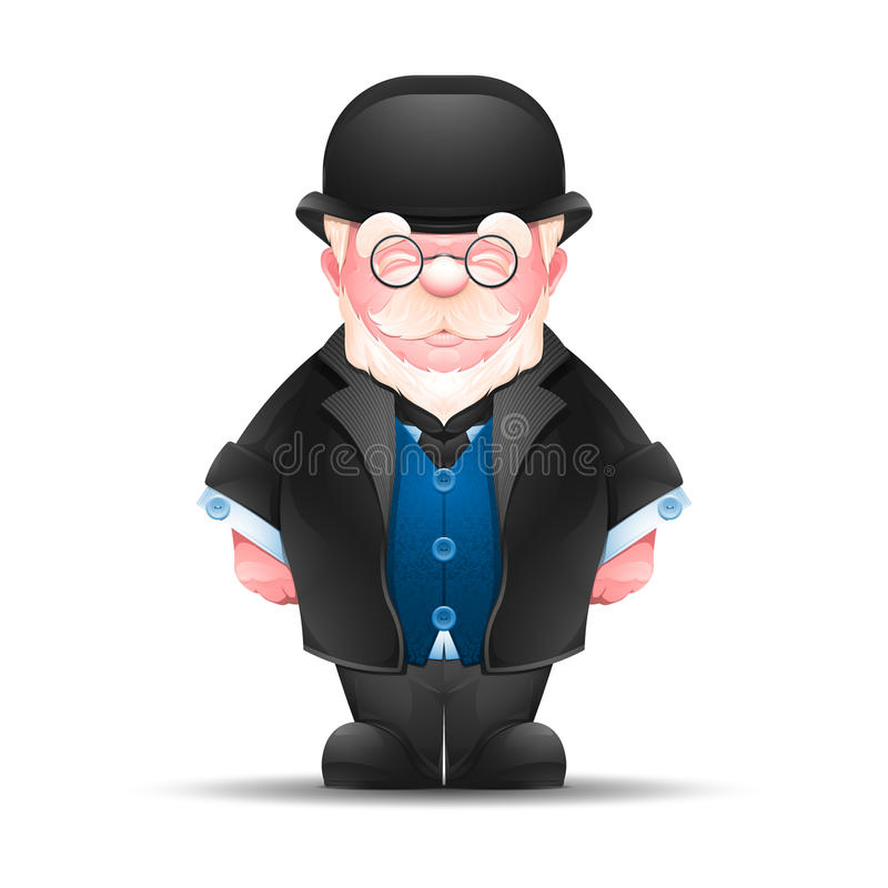 Pełny długość portret starszy mężczyzna ilustracji