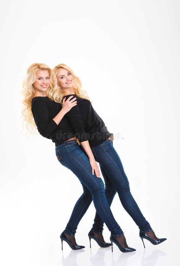 Pełny długość portret uśmiechnięci siostra bliźniacy zdjęcia royalty free