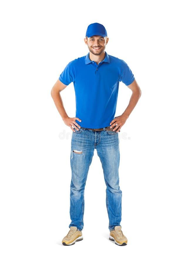 Pełny długość portret ufny przystojny mężczyzna w błękita mundurze zdjęcia royalty free