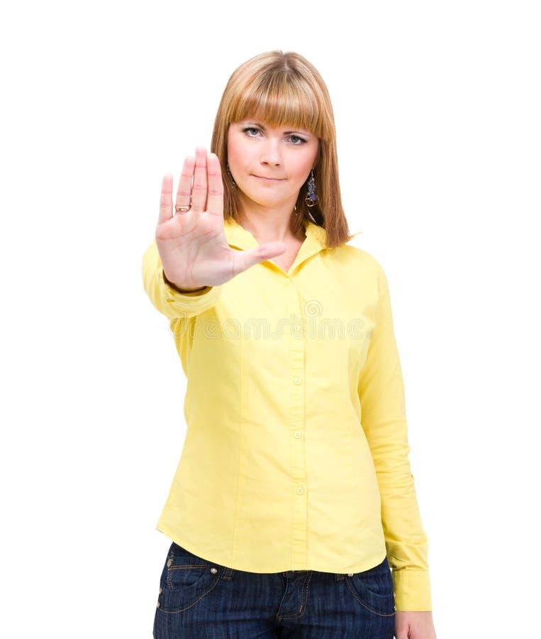 Poważna kobieta robi przerwie wręczać szyldowego palmowego gest zdjęcia royalty free