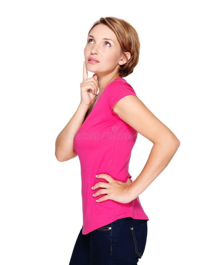 Pełny portret ładna myśląca kobieta na bielu fotografia stock