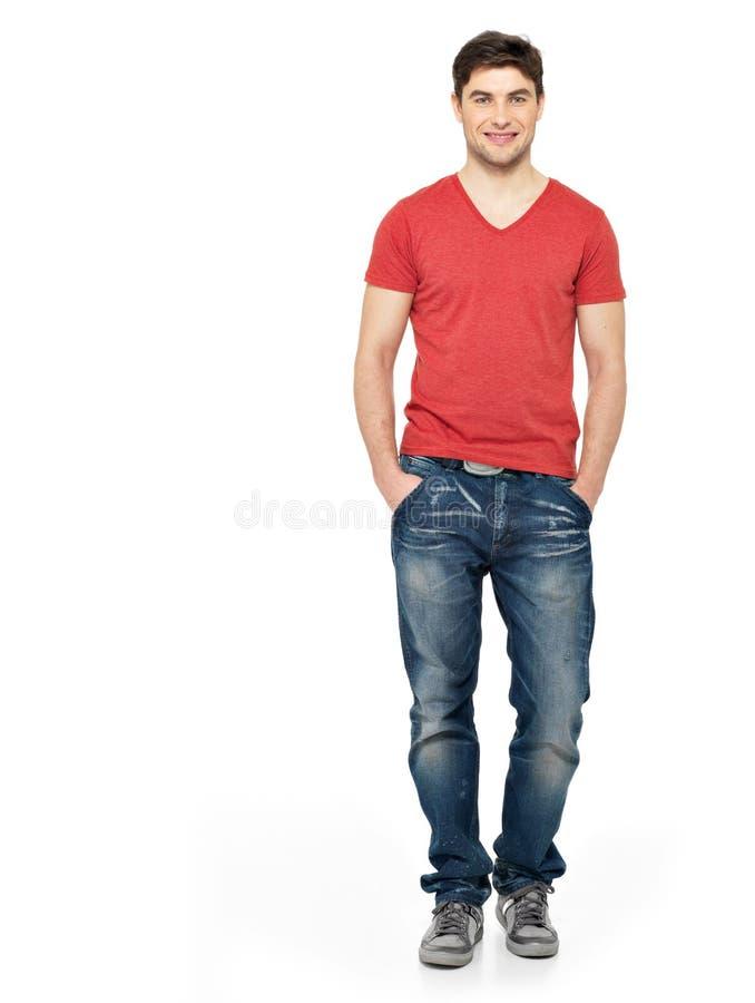 Pełny portret szczęśliwy przystojny mężczyzna w przypadkowym obrazy stock