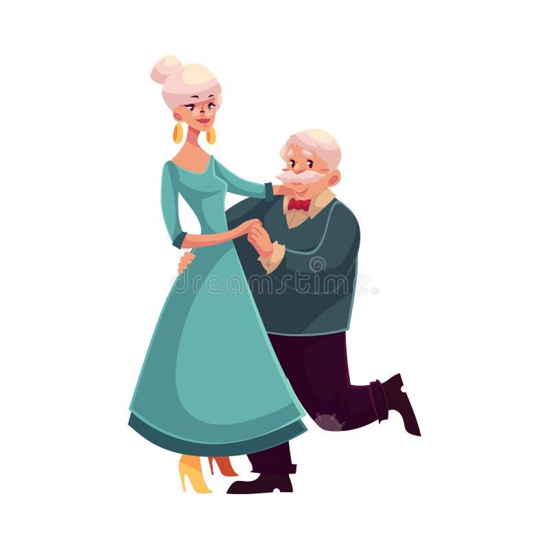 Pełny wzrosta portret stara, starsza para tanczy wpólnie, royalty ilustracja