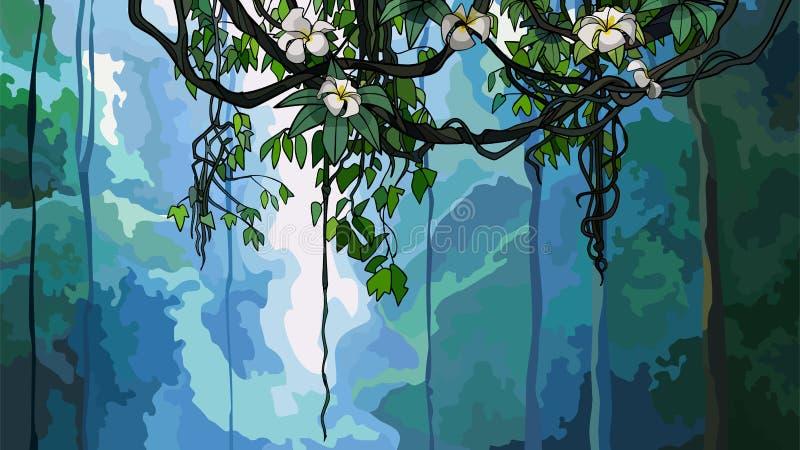 Pełzacz kapuje na tle siklawa w dżungli royalty ilustracja