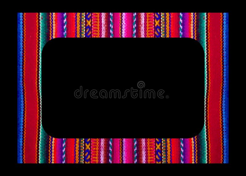 Vector Mexican Frame isolated on black background. Colorful border in navajo style, Latin America and Peru textiles embroidery. Mexican ethnic embroidery, Tribal stock photos