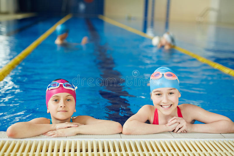 PE Lesson in Swimming Pool stock photo