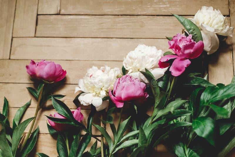 Pe?nias bonitas do rosa e as brancas no assoalho de madeira r?stico, configura??o lisa Decora??o floral e arranjo Recolhendo flor foto de stock royalty free