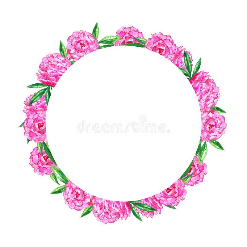 Pe?nias cor-de-rosa brilhantes Frame floral redondo Ilustra??o tirada m?o da aquarela ilustração royalty free
