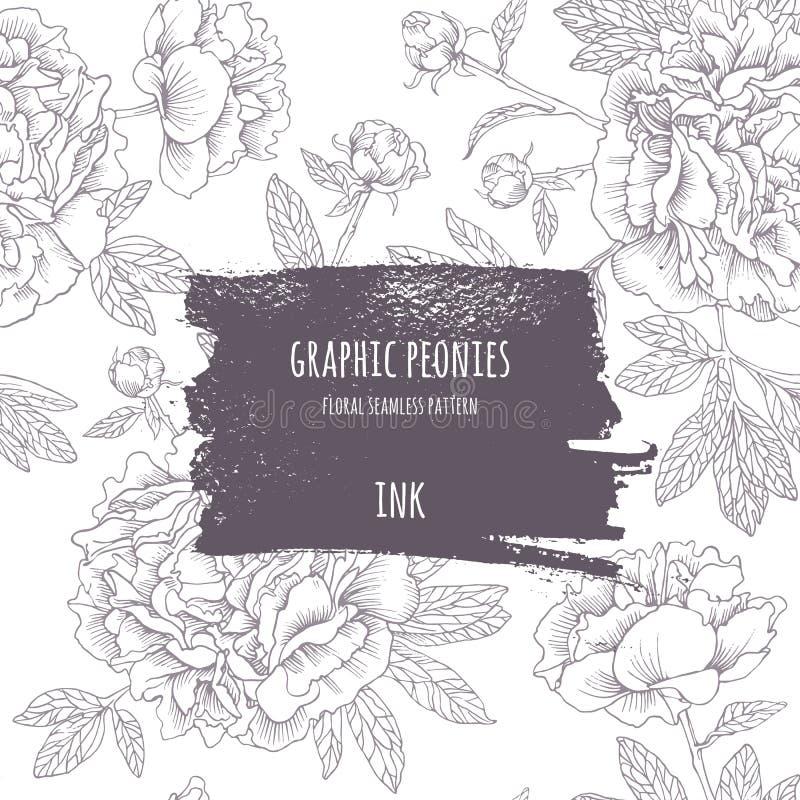 Peônias cor-de-rosa desenhados à mão Flores do gráfico de vetor ilustração royalty free