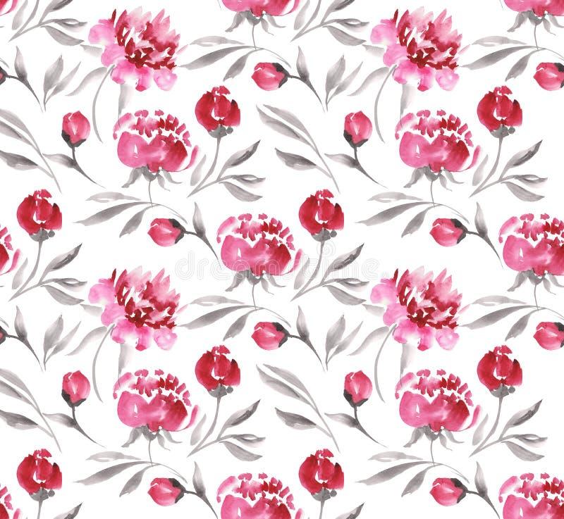 Peônias cor-de-rosa sem emenda da aquarela ilustração royalty free
