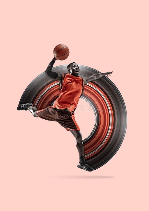 Pe?ny d?ugo?? portret gracz koszyk?wki z pi?k? ilustracja wektor
