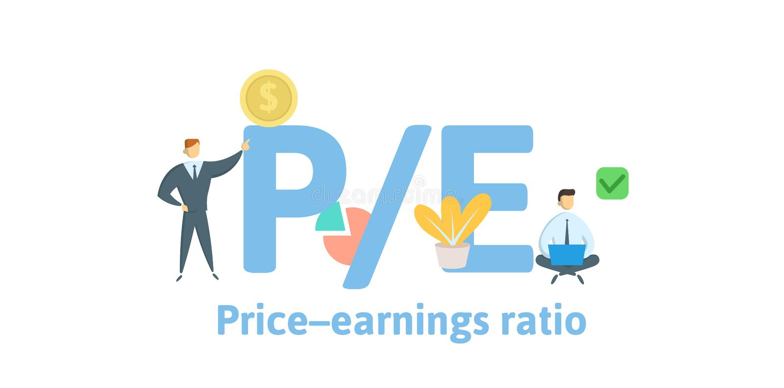 PE, Price to Earnings ratio. Concept with keywords, letters and icons. Flat vector illustration. Isolated on white stock illustration
