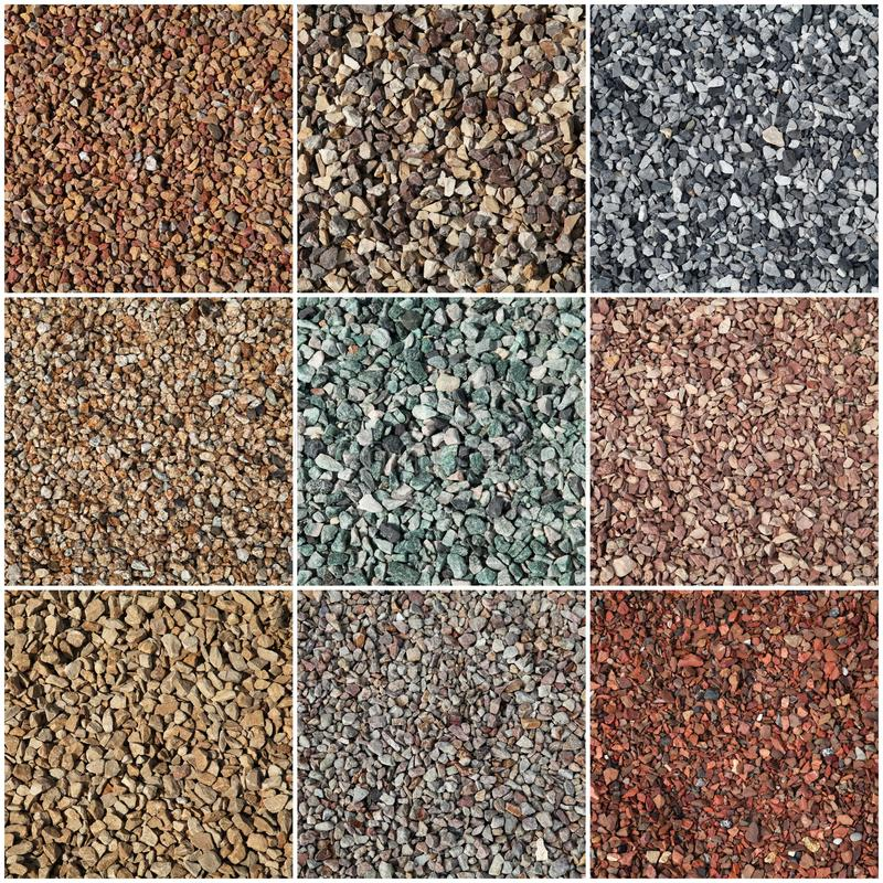 Pea gravel. In different colors used as home exterior or garden decoration royalty free stock photos