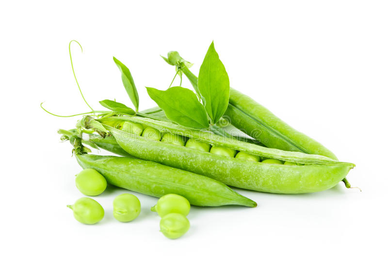 Pea pods and green peas. Pea pods with green peas isolated on white background stock photography