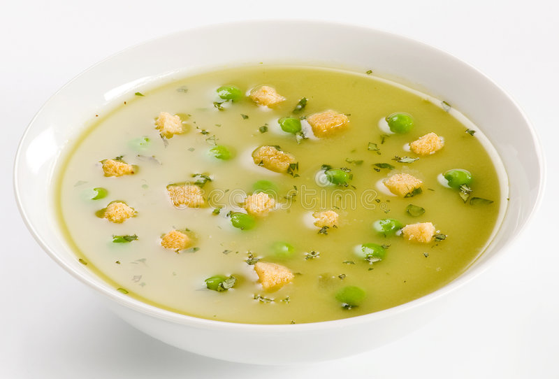 Pea Soup with Croutons royalty free stock photography