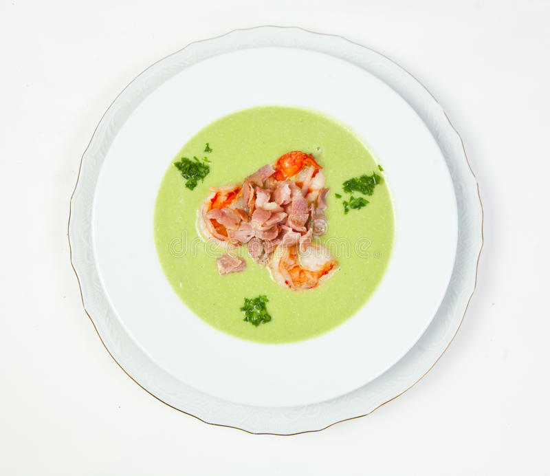 Pea Soup With Shrimps And Bacon Stock Photo