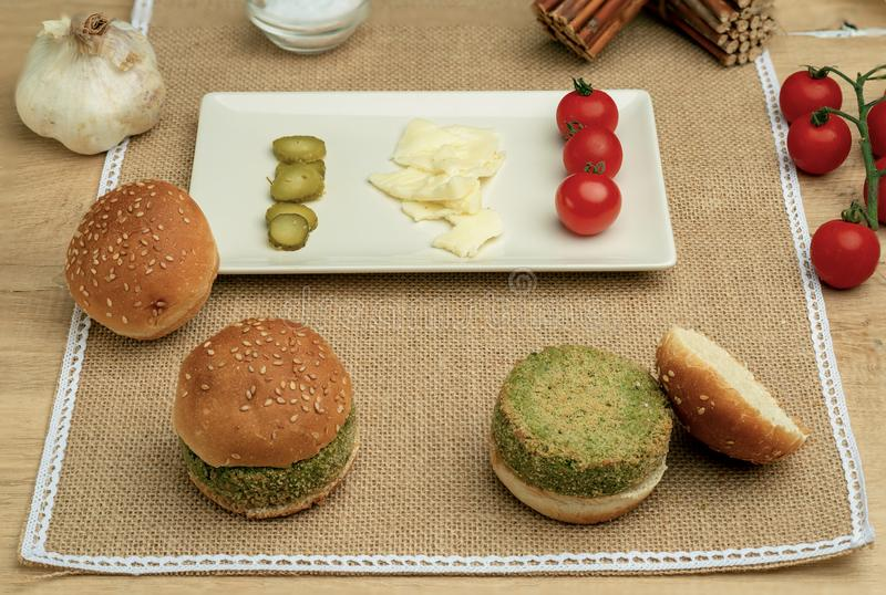 Pea vegan burgers. healthy food royalty free stock photography