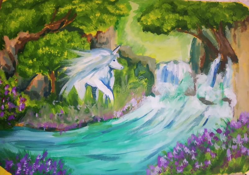 The peace of art with unikorn, trees, forest, river, waterfall and flowers. Fantastic vector illustration