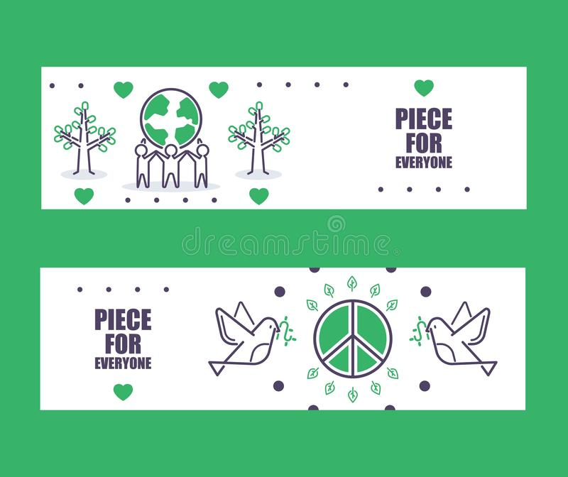 Peace banners, vector illustration. Informational brochure header, peace for everyone. Fine line icons of peaceful royalty free illustration