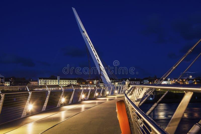 Peace Bridge in Derry stock images