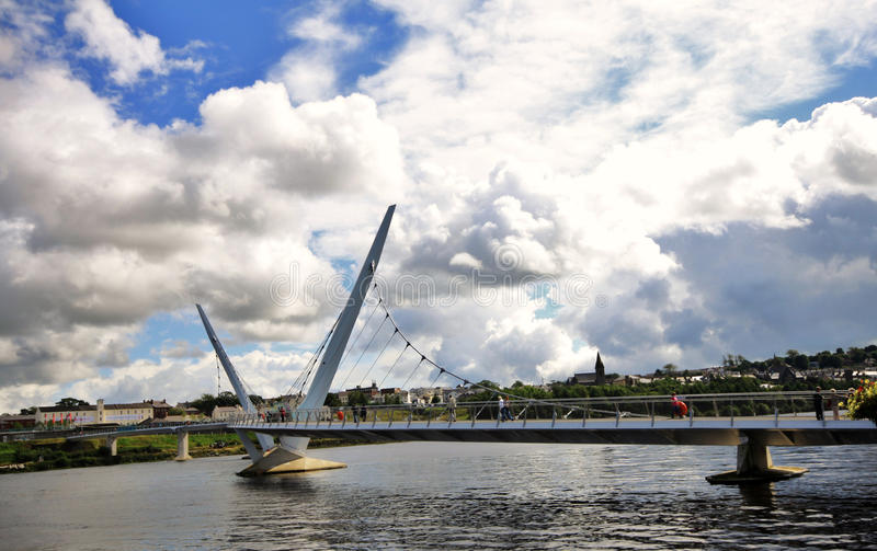 Peace Bridge in Londonderry. Northern Ireland royalty free stock photography