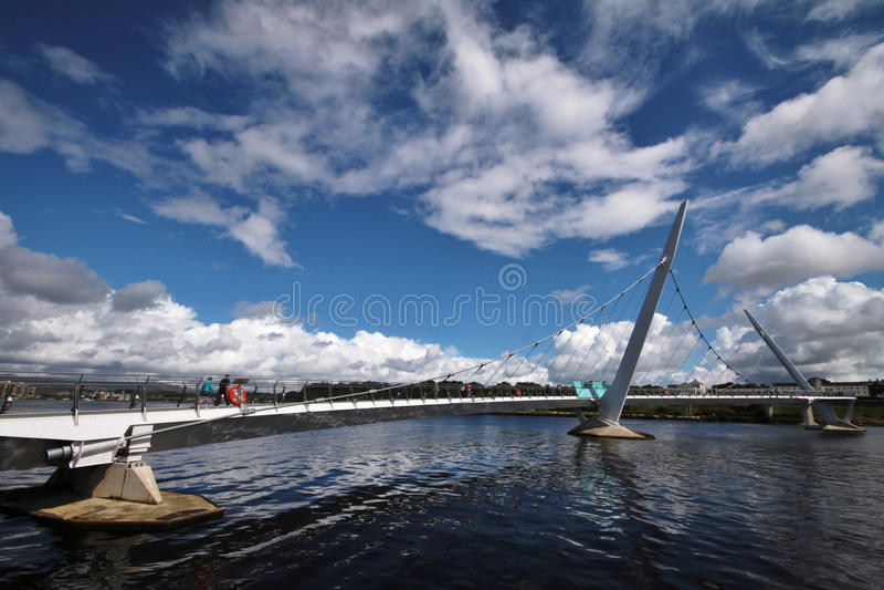 Peace Bridge in Londonderry. Northern Ireland stock photography
