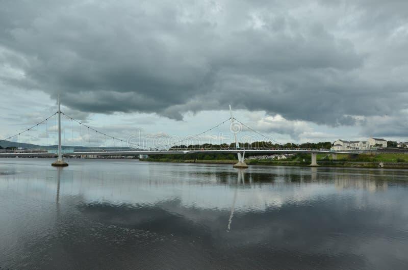 The Peace Bridge in Londonderry stock photo