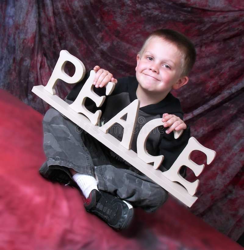 Download Peace child stock image. Image of youngster, expression - 5429923